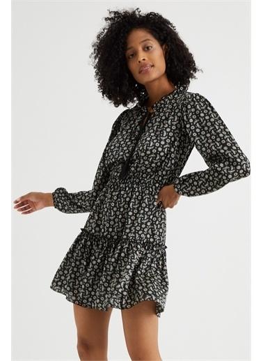 Curly  Çiçek Desen Püsküllü Elbise Siyah